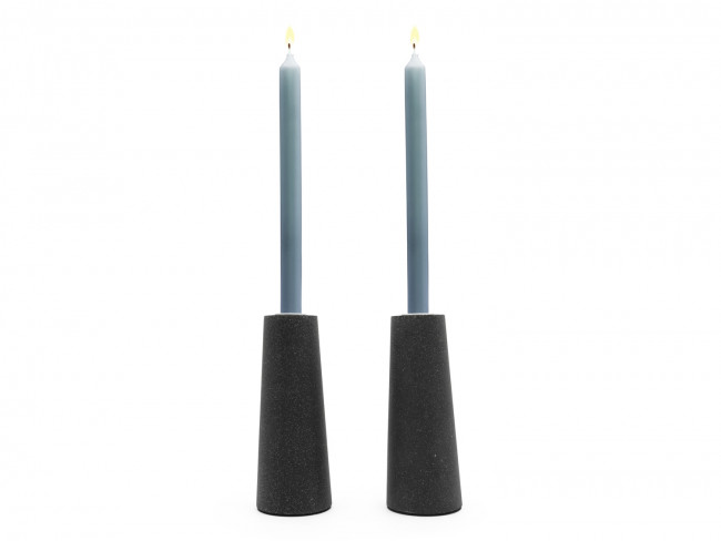 Oblique Kerzenleuchter 2er Harz-Sandstein