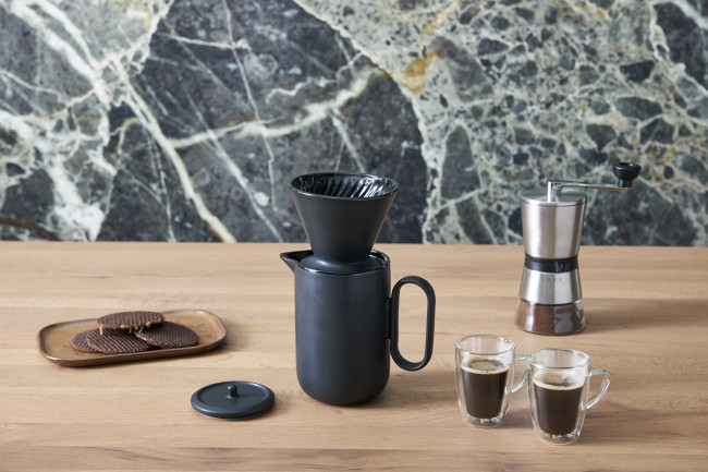 Kaffee-Set Palermo 900ml Keramik schwarz