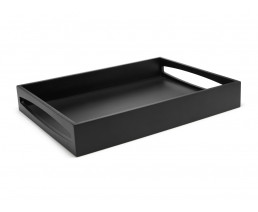 Tablett MDF schwarz rechteckig 40x30x6cm